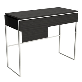 Black Stained Oak Veneer Dressing Table with Chrome Detail
