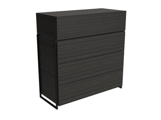 Black Stained Oak Veneer Four Drawer Chest with Black Detail