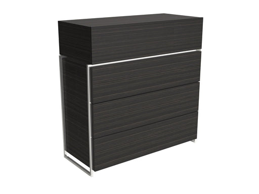 Black Stained Oak Veneer Four Drawer Chest with Chrome Detail