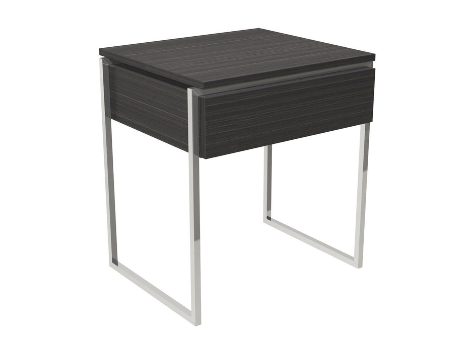 Black Stained Oak Veneer Side table with Chrome Legs