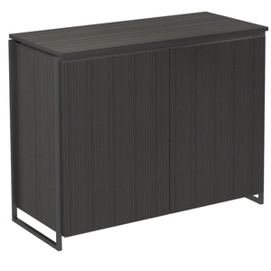 Black Stained Oak Veneer Two Door Sideboard with Black Detail