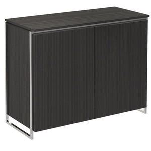Black Stained Oak Veneer Two Door Sideboard with Chrome Detail
