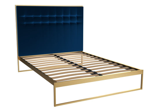 Brass Brushed King Bed Frame with Blue Headboard
