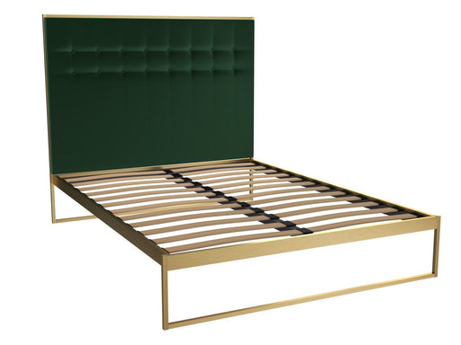 Brass Brushed King Bed Frame with Green Headboard