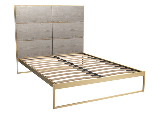 Brass Brushed King Bed Frame with Natural Headboard