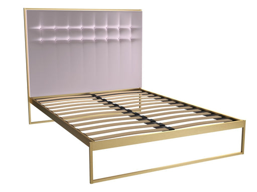 Brass Brushed King Bed Frame with Pink Headboard
