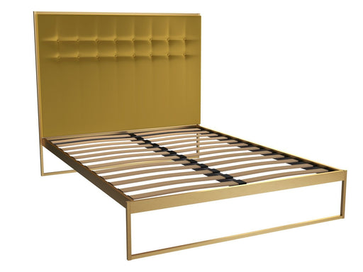 Brass Brushed King Bed Frame with Yellow Headboard