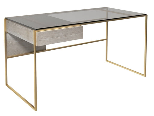 Brass Brushed Weathered Oak Desk