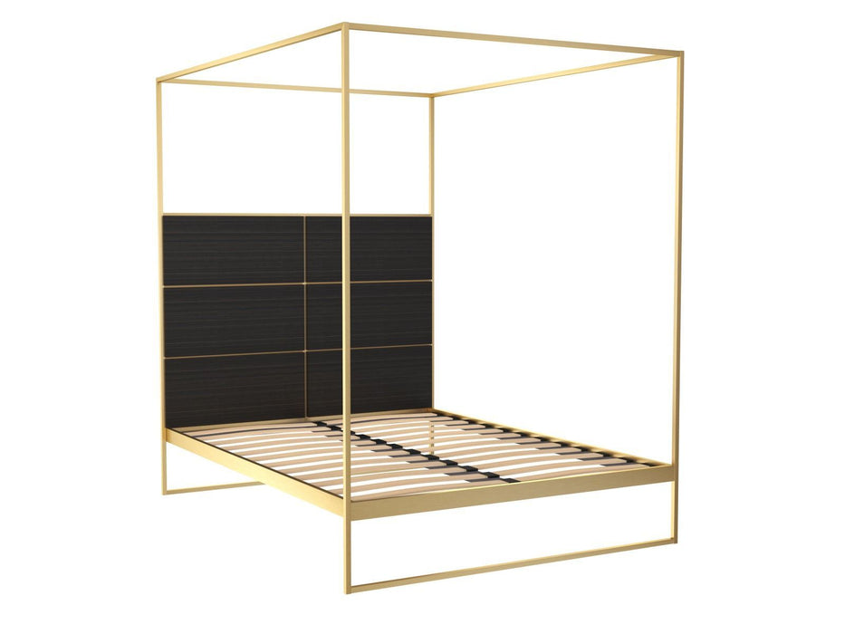 Brushed Brass Double Bed frame with Black Headboard and Canopy Frame
