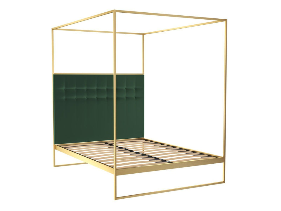 Brushed Brass Double Bed frame with Green Headboard and Canopy Frame