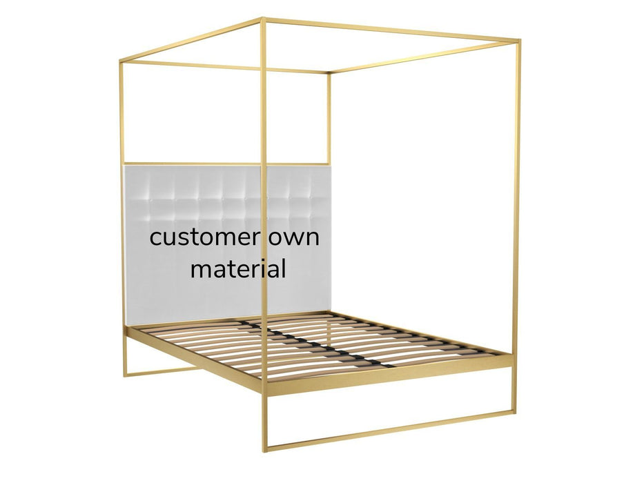 Brushed Brass Double Bed frame with Headboard and Canopy Frame
