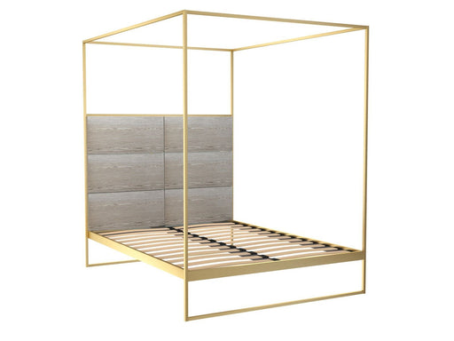 Brushed Brass Double Bed frame with Natural Headboard and Canopy Frame