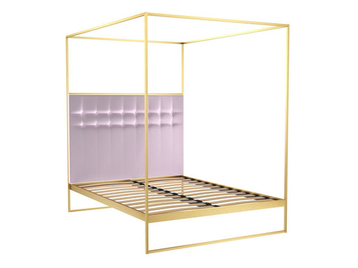 Brushed Brass Double Bed frame with Pink Headboard and Canopy Frame