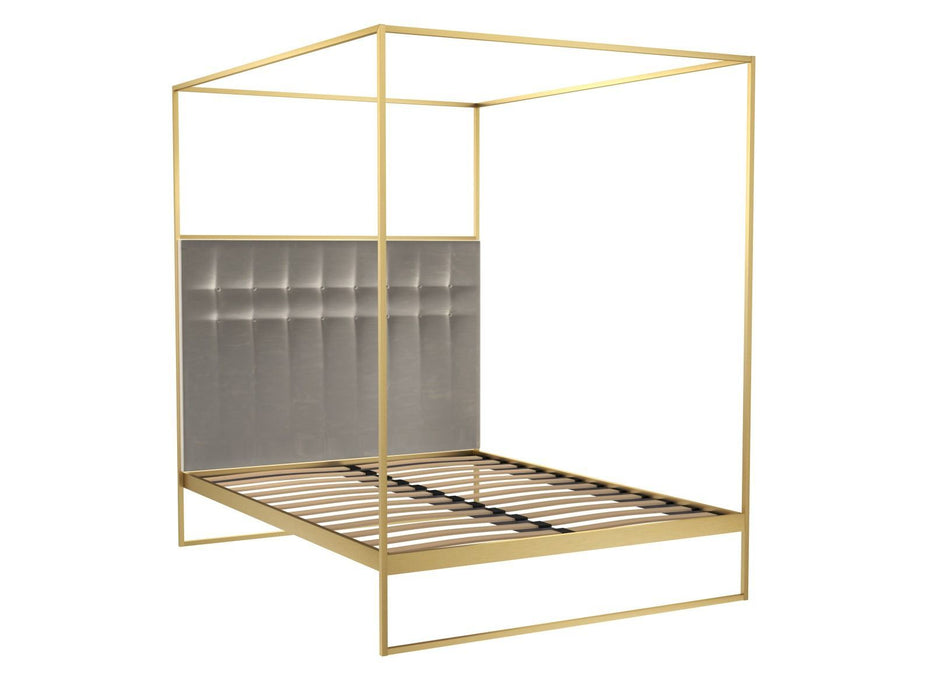 Brushed Brass Double Bed frame with Silver Headboard and Canopy Frame