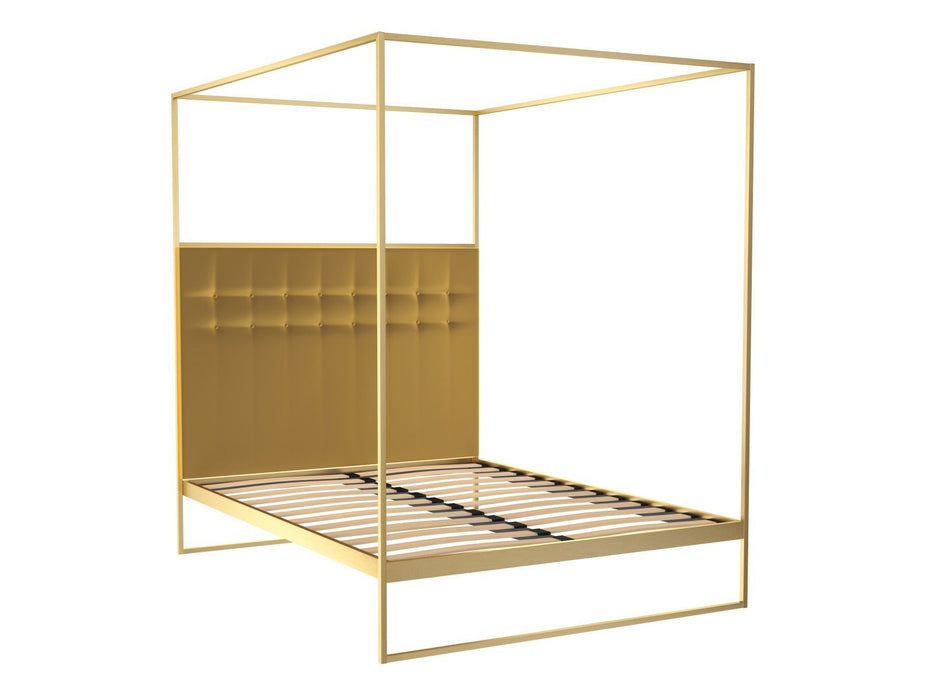Brushed Brass Double Bed frame with Yellow Headboard and Canopy Frame