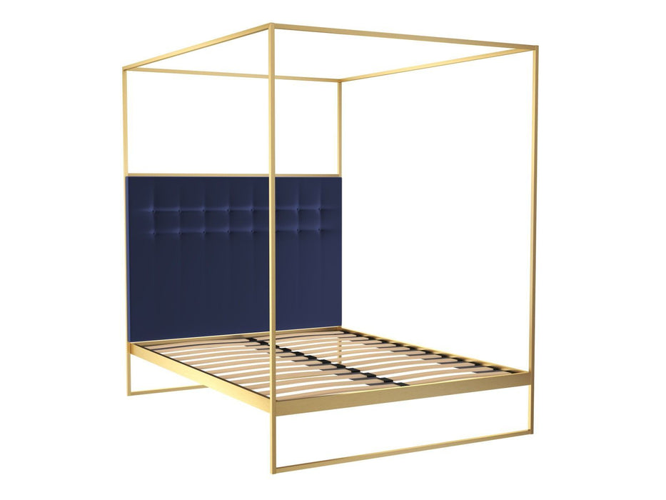 Brushed-Brass-King-Size-Bed-frame-with-Blue-Headboard-and-Canopy ...