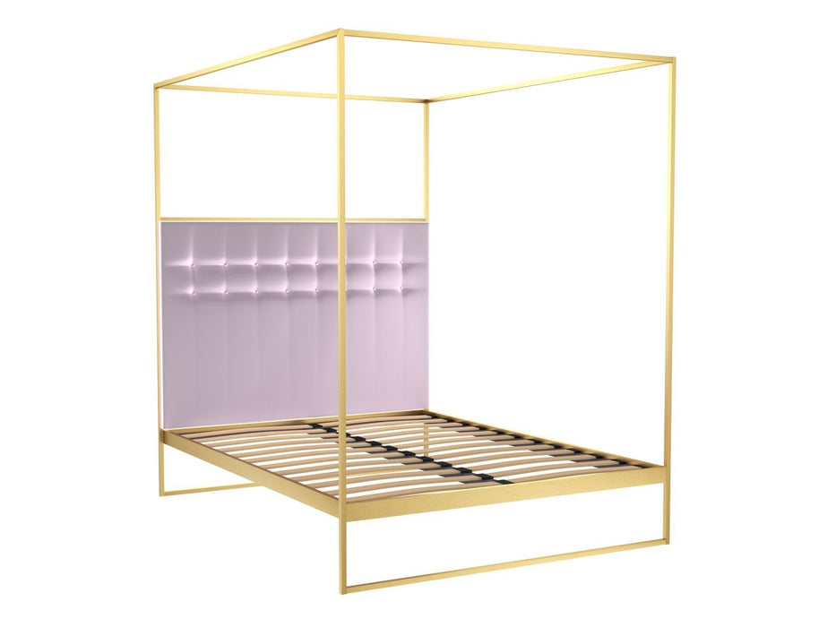Brushed-Brass-King-Size-Bed-frame-with-Pink-Headboard-and-Canopy ...