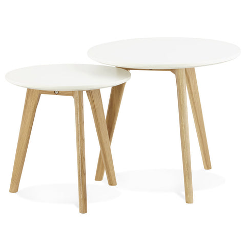 White Modern Kokoon Espino 2 Piece Nest of Tables CT00380WH
