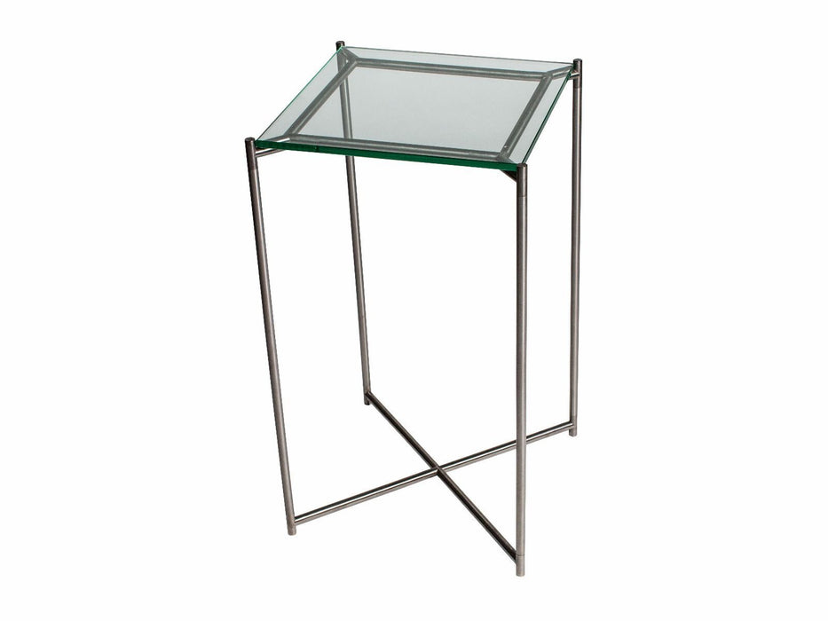 Clear Glass Gillmore Square Plant Stand