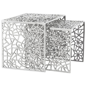Silver Modern Kokoon Biko 2 Piece Nest of Tables DK00390AL