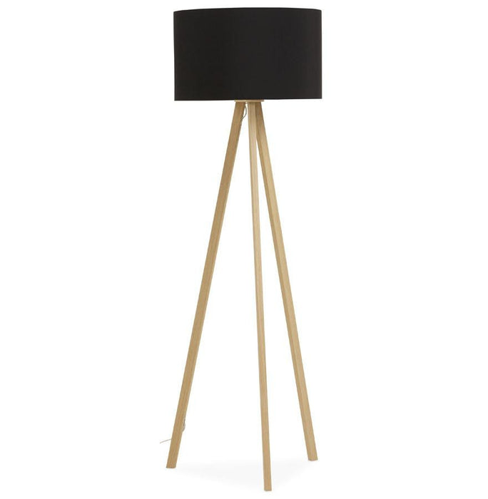 Black and Natural Modern Trivet Floor Lamp