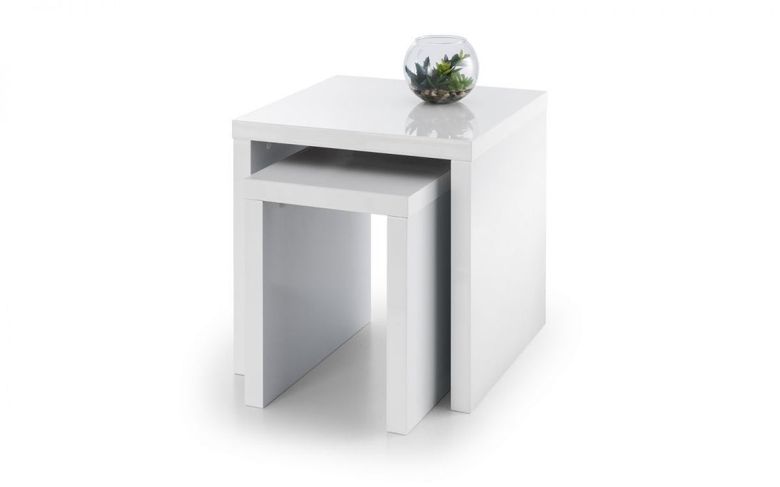 Julian Bowen White Metro Lacquered MDF High Gloss Nest of Tables