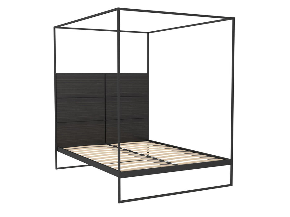 Matt-Black-Double-Bed-Frame-with-Black-Headboard-and-Canopy-Frame ...