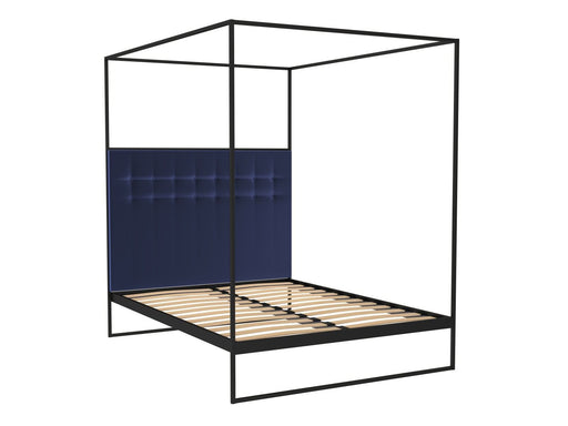 Matt Black Double Bed Frame with Blue Headboard and Canopy Frame