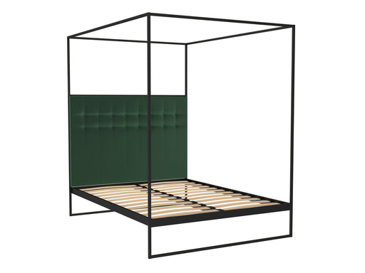 Matt Black Double Bed Frame with Green Headboard and Canopy Frame