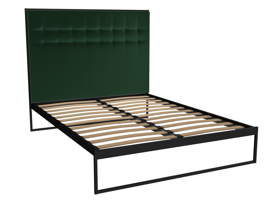 Matt Black Double Bed Frame with Green Headboard 118-517 ...