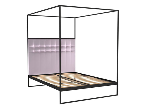 Matt Black Double Bed Frame with Pink Headboard and Canopy Frame