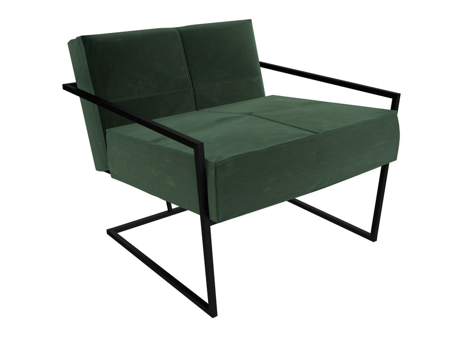Matt Black Green Armchair