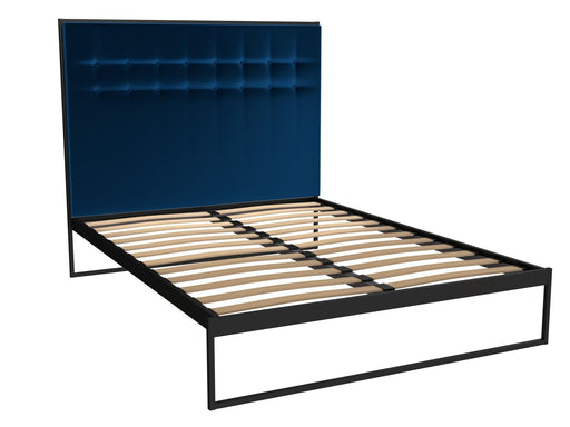 Matt Black King Size Bed Frame with Blue Headboard