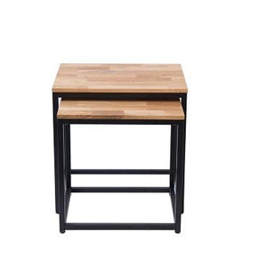 Mirelle Nest Of Tables Solid Oak Black Metal Frame