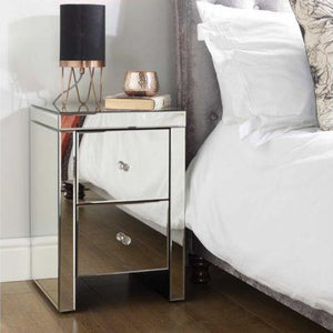 Mirrored Birlea Seville 2 Drawer Bedside Table
