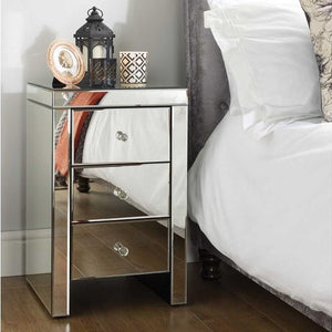 Mirrored Birlea Seville 3 Drawer Bedside Table