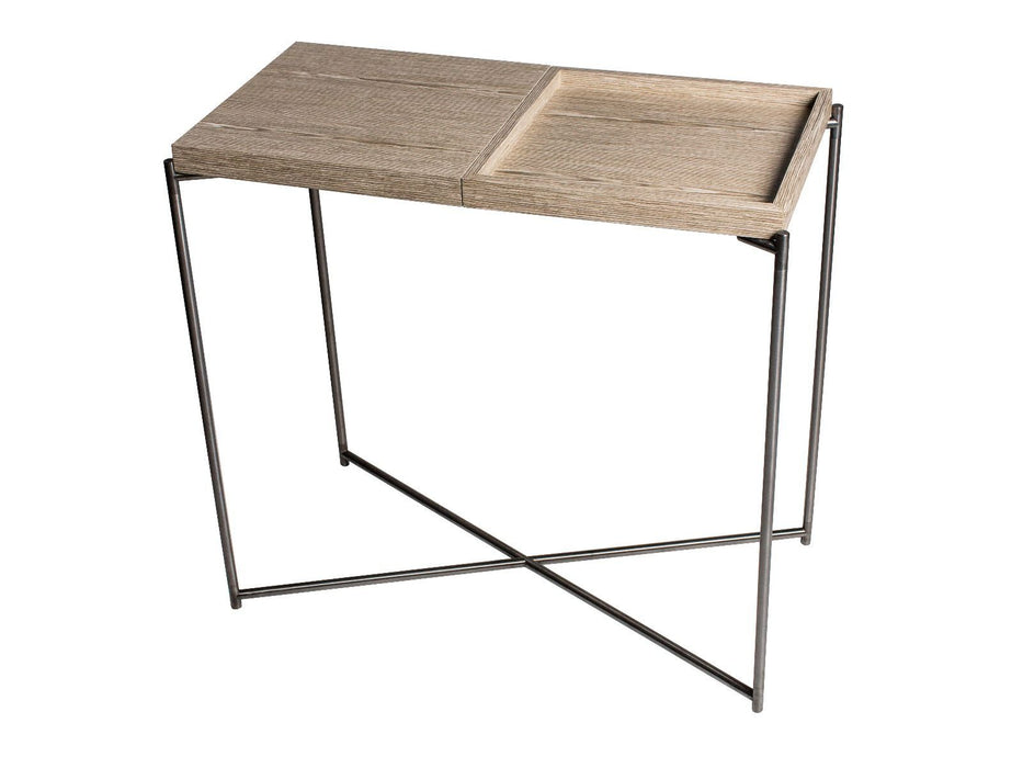 Oak & Gun Metal Frame Small Gillmore Console Table