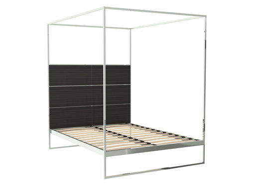 Polished Chrome Double Bed Frame with Black Headboard and Canopy Frame