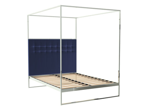 Polished Chrome Double Bed Frame with Blue Headboard and Canopy Frame