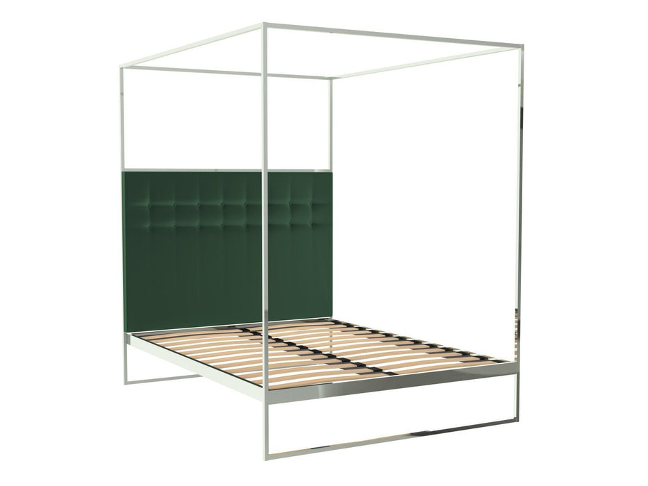 Polished Chrome Double Bed Frame with Green Headboard and Canopy Frame