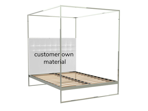 Polished Chrome Double Bed Frame with Headboard and Canopy Frame