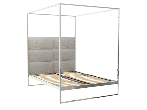 Polished Chrome Double Bed Frame with Natural Headboard and Canopy Frame