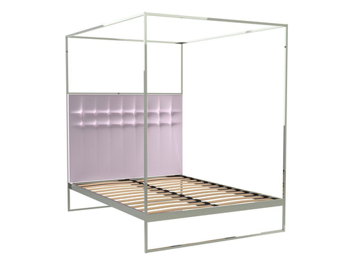 Polished Chrome Double Bed Frame with Pink Headboard and Canopy Frame