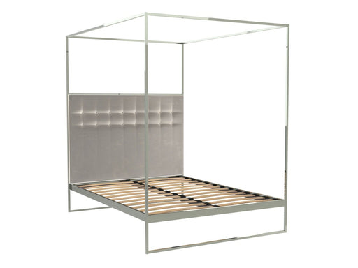 Polished Chrome Double Bed Frame with Silver Headboard and Canopy Frame