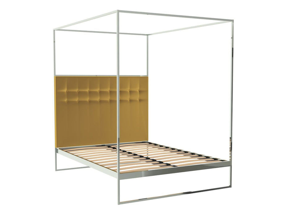 Polished Chrome Double Bed Frame with Yellow Headboard and Canopy Frame