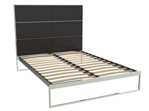 Polished Chrome King Size Bed Frame with Black Headboard