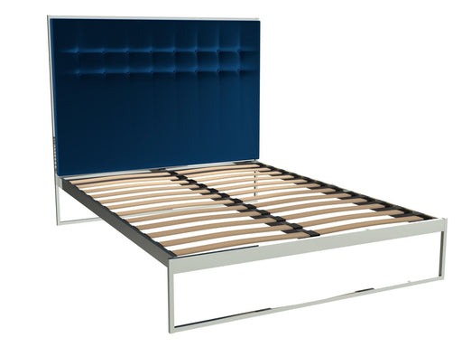 Polished Chrome King Size Bed Frame with Blue Headboard
