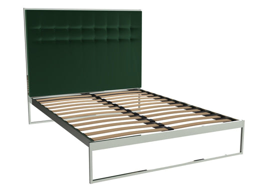 Polished Chrome King Size Bed Frame with Green Headboard