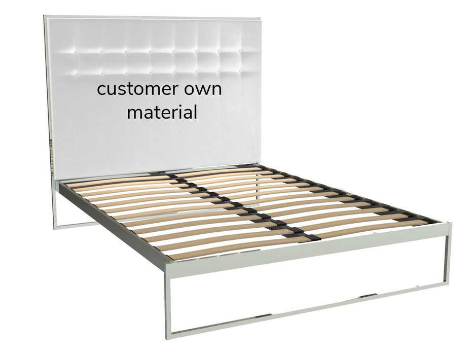 Polished Chrome King Size Bed Frame with Headboard