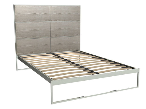 Polished Chrome King Size Bed Frame with Natural Headboard